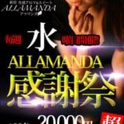 「毎週水曜日はALLAMANDA感謝祭!!」07/09(木) 17:52   アラマンダ新宿店のお得なニュース