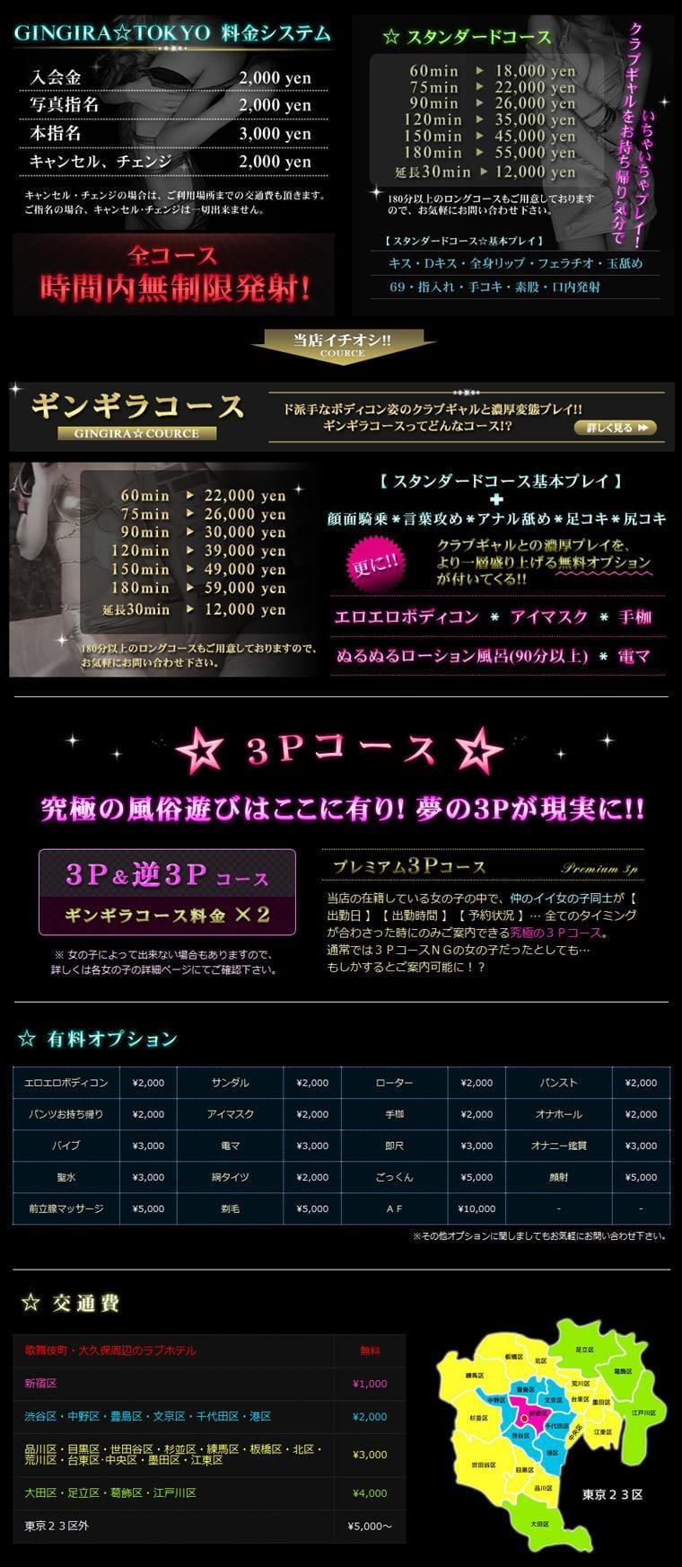 【GINGIRA☆TOKYO~ギンギラ東京~】の料金システム