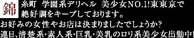 錦糸町 学園系デリヘル 美少女NO.1!東東京で絶好調をキープしております。お好みの女性やお店は決まりましたでしょうか?連日、清楚系・素人系・巨乳・美乳のロリ系美少女出勤中!